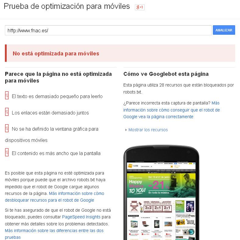 La web de Fnac no está optimizada para móviles